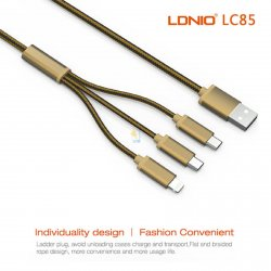LDNIO 3 in 1 3.4A Fast Charge USB Cable